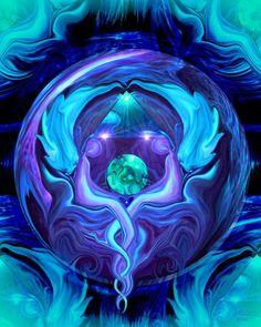 Reiki Wall Decor Angel Healing Energy Art Blue Violet Decor 8 x 10 Print