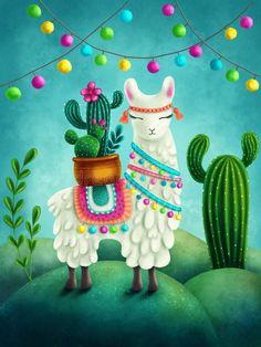 Illustration of a cute llama. Free art print of Cute llama. Alpacas, Alpaca Illustration, Images Lama, Llama Drawing, Llama Decor, Llama Arts, Llama Christmas, Christmas Tree, Decorative Hand Towels