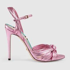 Sandales en cuir métallisé à nœud