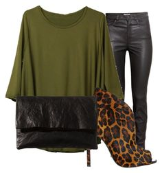 """Leather&leopard"" by monika-tobias ❤ liked on Polyvore featuring H&M, Schutz and Zilla"