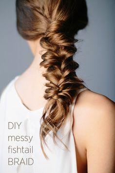 30 Inspiring Fishtail Braids -- Messy Low Braid #hair #hairspiration #wedding #diy