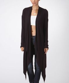Look at this Black Sidetail Open Duster on #zulily today!