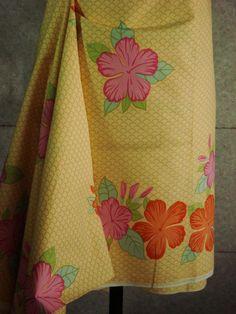 Hibiscus Flower-Chaba Thai Flower-Yellow Ground-Pink Orange Chaba-Beach Sarong Skirt by HeavenKnow on Etsy