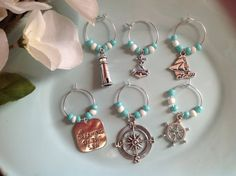 Check out this item in my Etsy shop https://www.etsy.com/listing/201678098/ocean-wine-charms-hostess-gift-beaded