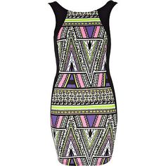 black aztec print bodycon dress - bodycon dresses - dresses - women - River Island