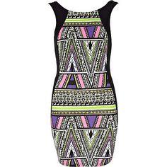 black aztec print bodycon dress - bodycon dresses - dresses - women - River Island