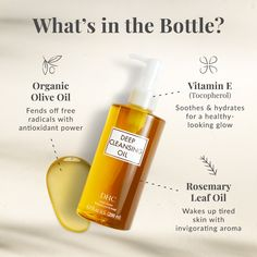 So what exactly is in our bottle of liquid gold 🤔 🌱 Organic Olive Oil: fends off free radicals with antioxidant power 🌟 Vitamin E: soothes and hydrates for a healthy-looking glow 🌿 Rosemary Leaf Oil: Wakes up tired skin with an invigorating aroma Cosmetic Packaging, Beauty Packaging, Organic Oil, Organic Skin Care, Typography Poster Design, Cleansing Oil, Spa, Hair Oil, Cleanser