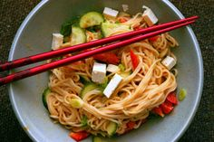 peanut sesame noodles by smitten, via Flickr. I eat this all of the time! Super easy and delicious.