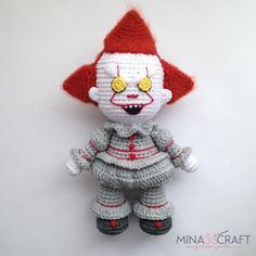 4 FREE Crochet Amigurumi Patterns Pennywise Joker Wonder Woman and Batman crochet amigurumi pennywise wonderwoman batman joker Easy Knitting Projects, Easy Knitting Patterns, Crochet Patterns Amigurumi, Knitting Needle Conversion Chart, Free Crochet, Knit Crochet, Crochet Stitches, Es Der Clown, Pennywise The Clown