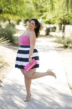 plus size party outfit ootd pink and navy opi color challenge crystal coons preppy cute gold and pink