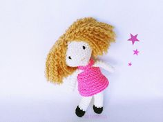 Muñeca amigurumi, Amigurumi crochet muñeca,Muñeca tejida.Muñequita pelo rizado.muñeca bonita