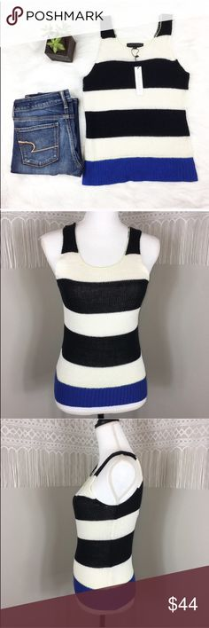 Sanctuary NWT Knit Striped Tank Top Sanctuary NWT knit striped tank top. Size extra small. Approximate measurements flat laid are 23 1/2' long and 14' bust. NWT with no flaws. ❌No trades ❌ Modeling ❌No PayPal or off Posh transactions ❤️ I 💕Bundles ❤️Reasonable Offers PLEASE ❤️ Sanctuary Tops Tank Tops