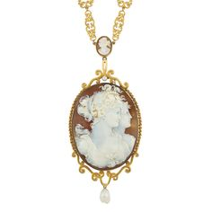 Antique Gold, Metal, Shell Cameo and Baroque Freshwater Pearl Pendant-Necklace