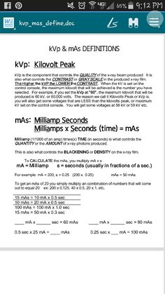 Kvp and mAs. Wow-Haven't thought of this in a while. Just all comes naturally now.