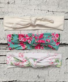 Love this White & Floral Knot Headband Set on #zulily! #zulilyfinds