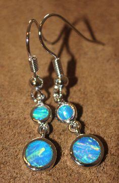 blue fire opal earrings Gemstone silver modern cocktail drop dangle style 0W #DropDangle