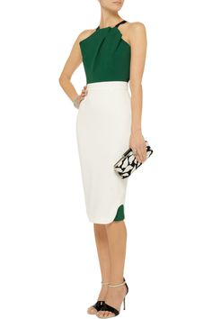 Abbotsford color-block stretch-cady dress by Roland Mouret