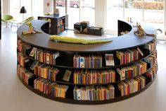 school library shelving | Steel Radius Shelving Great For Modern Library Design