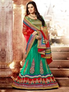 Sea Green Net Lehenga Choli With Zari And Butta Work www.saree.com