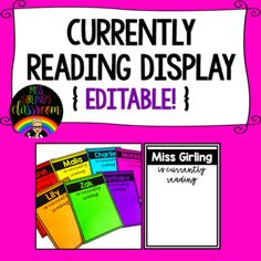 An engaging and fun reading display for your classroom! Add the names of your students to the editable slides, print and display! Students can write the name and author of the book they are currently reading on a small piece of paper or post-it note and add it to the display!