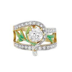 Gold, Diamond and Enamel Ring, Masriera   18 kt., one old European-cut diamond ap. .90 ct., signed Masriera, no. 8-9823-1, ap. 4.2 dwt.