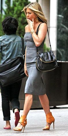 love outfit and shoes.Jennifer Aniston