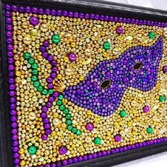Framed Mardi Gras bead mask bead art mosaic by BayoulandBeads Mardi Gras Wreath, Mardi Gras Decorations, Mardi Gras Beads, Mardi Gras Party, New Orleans Mardi Gras, Mardi Gras Costumes, Custom Art, Creative Crafts, Mosaic Art