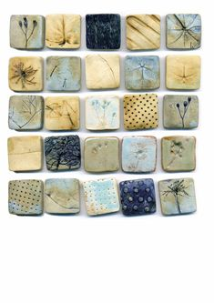 Armelle - Ceramic tiles Tile work ideas Many mini tiles Ceramic Tile Art, Clay Tiles, Ceramic Clay, Ceramic Pottery, Art Tiles, Tile Projects, Pottery Classes, Handmade Tiles, Paperclay