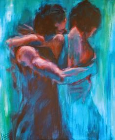 Touch Upon: It is in the spaces between love and heartache, we feel home in familiar arms. If I let you into my mind body and soul, it will be because I am sure my heart yearns to touch yours. - Simi Fromen #simifromen #simiwriting Painting: Evelyn Hamilton, Into the Blue