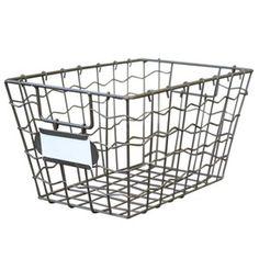 9-in W x 7.5-in H x 14-in D Antique Grey Iron Basket