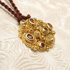 Sterling Modernist Pendant Garnet Gorgeous by PurpleDaisyJewelry