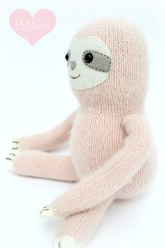 Super cute Sloth PDF knitting pattern - Knitted Sloth Knitted toys Stuffed animal Feeling Good yarn wool and the gang Animal Knitting Patterns, Stuffed Animal Patterns, Knitting Designs, Knitting Projects, Knitting Ideas, Doll Patterns, Knit Patterns, Knitted Stuffed Animals, Knitted Animals