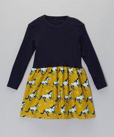 Look at this Alejandra Kearl Designs Navy & Gold Royal Horses Dress - Infant, Toddler & Girls on #zulily today!