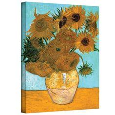 @Overstock - VanGogh 'Vase with Twelve Sunflowers' Wrapped Canvas Art - Artist: Vincent VanGoghTitle: Vase with Twelve SunflowersProduct type: Wrapped canvas     http://www.overstock.com/Home-Garden/VanGogh-Vase-with-Twelve-Sunflowers-Wrapped-Canvas-Art/7396886/product.html?CID=214117  $44.99