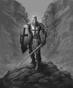 Knight's Templar walking through a valley of death and desolation. I will be painting this in full color soon.  This was an image I painted that is on a T-shirt from Hold The Line. The shirt i...