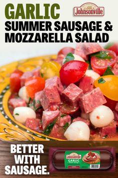 Best Salad Recipes, New Recipes, Cooking Recipes, Healthy Recipes, Appetizer Recipes, Dinner Recipes, Breakfast Recipes, Appetizers, Mozzarella Salad
