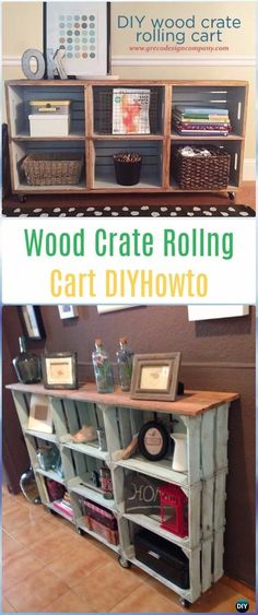 DIY Wood Crate Rolling Cart / Entryway Table Instruction- DIY Wood Crate Furniture Ideas Projects
