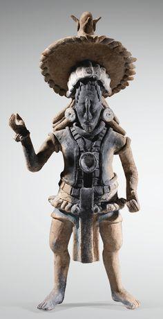 culture Maya Prêtre en tenue d'apparat avec chapeau amovible  Ile de Jaina, Campeche, MexiqueClassique, 600-900 ap. J.-C.