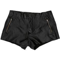 Pre-owned Mackage Leather Mini Shorts ($75) ❤ liked on Polyvore featuring shorts, mini short shorts, leather hotpants, hot shorts, leather short shorts and mini shorts
