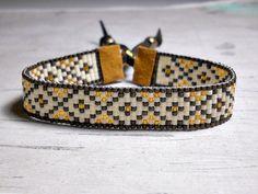 Brown Diamond Bead Loom Bracelet Bracelet by BeadWorkBySmileyKit
