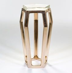 Chai Ming Studios Gem #Table, Polished Bronze with Cast Glass Top