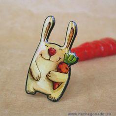 Cute illustration  made by artist Yana Fefelova. Carrot Mood  Cute Bunny brooch by Nechegonadet on Etsy, $19.00