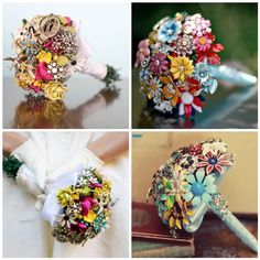 Bridal bouquets made of vintage brooches