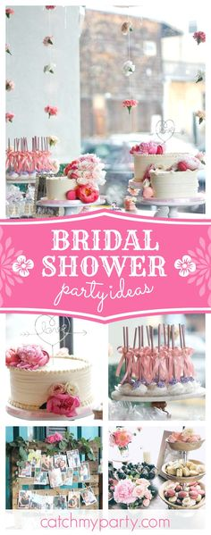 Take a look at this gorgeous Bridal Shower! The cake and 'love' topper are stunning!! See more party ideas and share yours at CatchMyParty.com #partyideas #love #romance #bridalshower