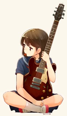 Anime girl with guitar pick in mouth as well as holding guitar in both hands with brown hair, and blue shirt. Anime Chibi, Manga Anime, Manga Girl, Manga Kawaii, Anime Girl Cute, Beautiful Anime Girl, Anime Art Girl, Anime Girls, Anime Style