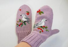 Hannd knitted plum purple mittens with felted by MySunsetColor