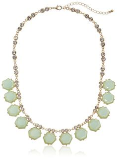 Cabochon Drops and Crystal Statement Gold Tone Necklace