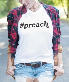 Look at this Ruby's Rubbish White '#preach' Tee on #zulily today!