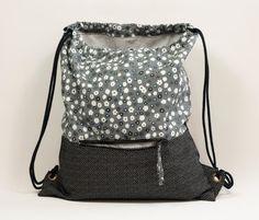 Polka dots backpack . Black flowers backpack. Fabric backpack. Backpack with…