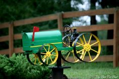 DIY John Deere Mailbox Inspiration (this blog only shows that she painted it - but creative folks might be able to make one).